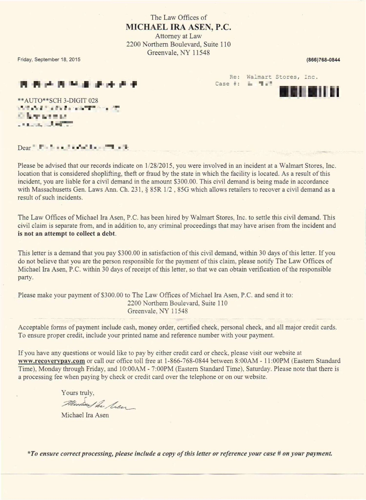walmart shoplifting civil demand letter from the law offices of michael ira asen pc